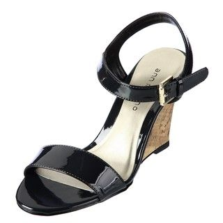 Ann Marino Womens Misti Black Wedge Sandals