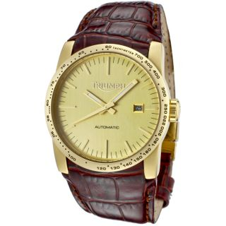 Triumph Motorcycles Mens Bonneville Brown Leather Automatic Watch