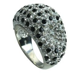 Sterling Silver Clear and Black Crystal Polka Dot Ring