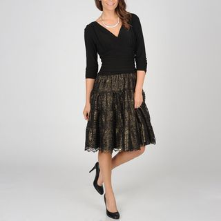 Fashions Womens Faux Seperates Metallic Lace Party Dress