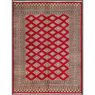 Pakistani Hand knotted Bokhara Red/ Beige Wool Rug (66 x 87