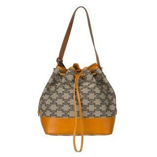 Celine Mustard/Grey Canvas/Leather Drawstring Shoulder Bag