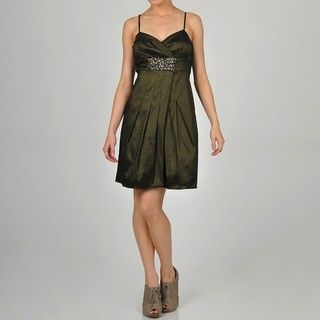 One By Eight Womens Olive Taffeta Embellished Party Dress