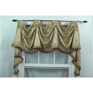 Gold Wispy Leaf 3 scoop Victory Swag Valance