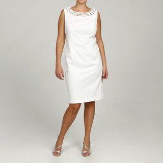 Jessica Howard Womens Plus Size White Crochet Neck Dress