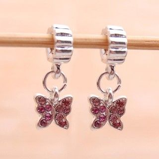 Bleek2Sheek Silverplated Pink Rhinestone Butterfly Charm Beads (Set of