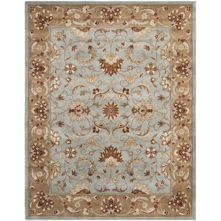 Handmade Heritag Blue/ Brown Wool Rug