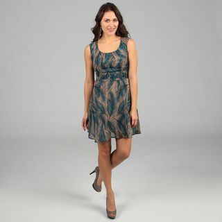 CeCes New York Womens Turqouise Feather Print Sleeveless Dress