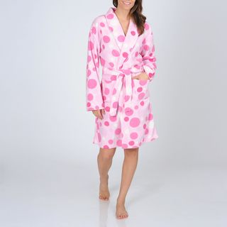 La Cera Womens Polka Dot Print Fleece Wrap Robe