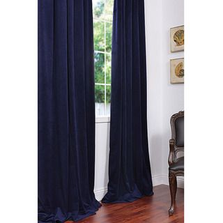 Signature Federal Blue Velvet 108 inch Blackout Curtain Panel