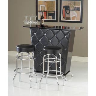 Bernards Black Vinyl/Chrome Swivel Bar Stool