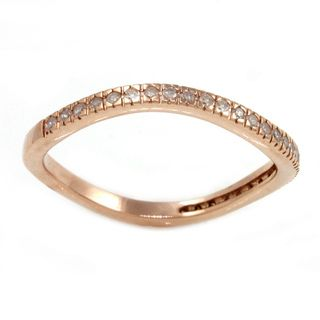 Beverly Hills Charm Rose Gold Plated Silver 1/6ct TDW Curved Diamond