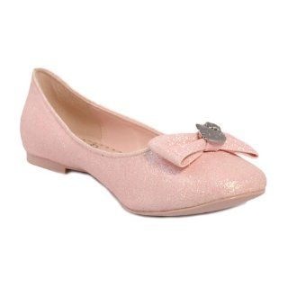Hello Kitty Halle Glitter Faux Suede Bow Dress Flats Shoes Pink Shoes