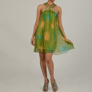 Issue New York Womens Green Silk Beaded Short Evening Dress