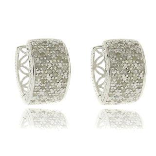 Sterling Silver 1ct TDW Diamond Hoop Earrings