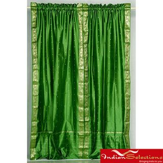 Forest Green Sheer Sari 84 inch Rod Pocket Curtain Panel Pair (India
