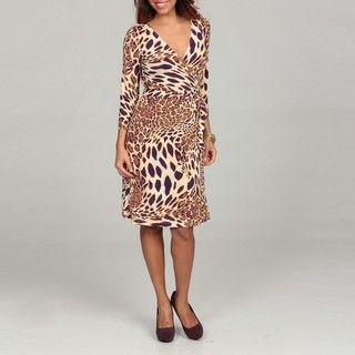 Tahari Womens Animal print Matte Jersey Wrap Dress