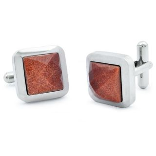 Stainless Steel Faceted Red Sand Stone Cuff Links