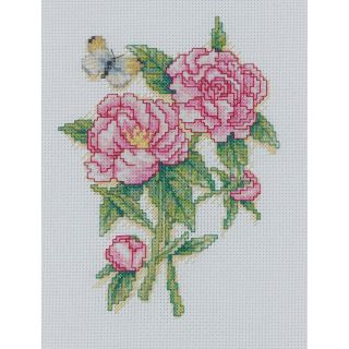 Peonies Mini Counted Cross Stitch Kit 5X7 14 Count Today $9.99