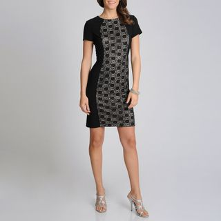 Richards Womens Black Lace Panel Sheath Dress