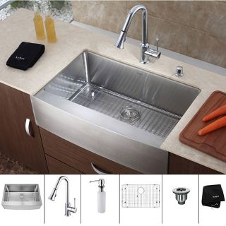 Kraus 36 inch Farmhouse Single Bowl Stainless Steel Kitchen Sink with