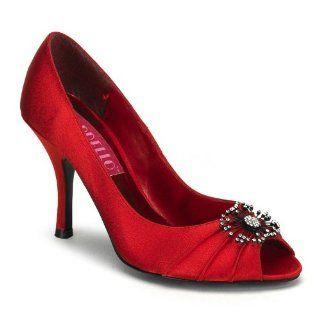 Inch Heel Peep Toe Pleated Satin Pump w/ Rhinestone Ornament Shoes