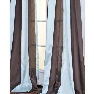 Blue and Coffee Striped 96 inch Sheer Curtain Panel