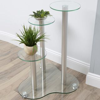 Daisy Glass 3 tier Silver Plant Stand