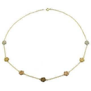14k Multi colored Gold Flower Station Necklace