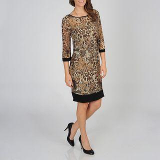 Lennie for Nina Leonard Womens Animal Mesh Dress