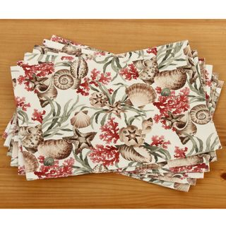 Coral Reef Print 13x18 inch Indoor/Outdoor Fabric Place Mats (Set of 6