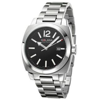Golana Swiss Mens Aero Pro 100 Stainless Steel Black Dial Watch