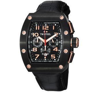 TW Steel Mens Ceo Tonneau Black Dial Black Strap Chronograph Watch