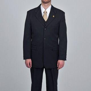 Stacy Adams Mens Black 3 piece Vested Suit