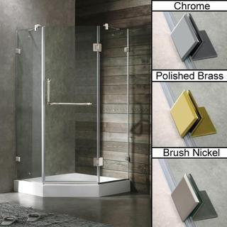 Vigo 36 x 36 Frameless Neo angle Clear Shower Enclosure and White Base