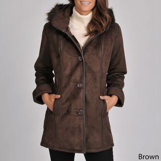 Excelled Womens Black Faux Shearling 3/4 length Coat