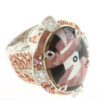 Michael Valitutti Two tone Rhodochrosite, White and Pink Sapphire Ring