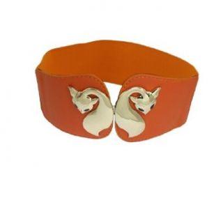 Allegra K Women Gold Tone Metal Fox Buckle Textured