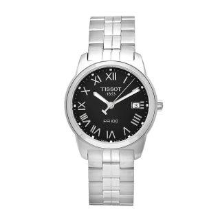Tissot Mens PR 100 Stainless Steel Black Dial Watch