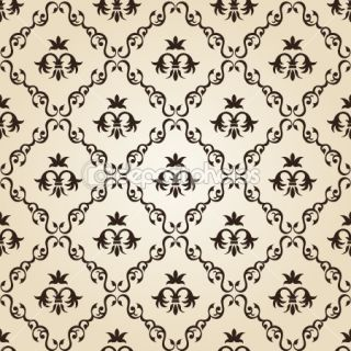 Seamless vintage wallpaper background floral beige  Vector Stock