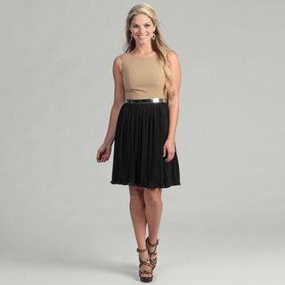 Calvin Klein Womens Camel/ Black Belted Dress