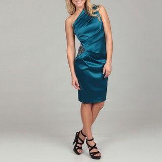 Eliza J Womens Teal Bead embellished Ruched Dress