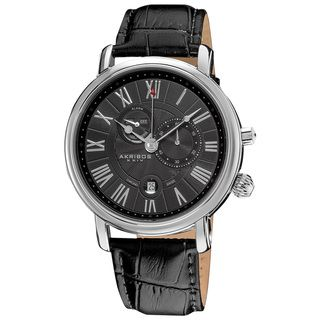 Akribos XXIV Mens Leather Strap Swiss Collection Multifunction Watch