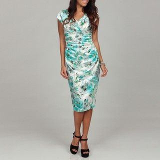 London Times Womens Shimmering Floral Dress