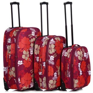 Chicane 3 piece Red Flower Expandable Hardside Luggage Set