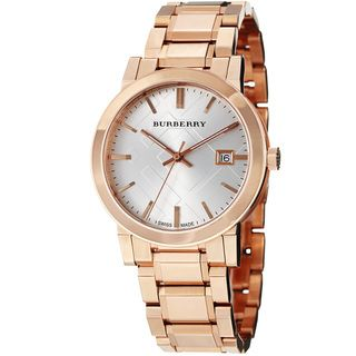 Burberry Mens Large Check Silver Dial Rose Gold Steel Watch