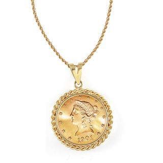 14k Gold $10 Liberty Gold Piece Eagle Coin Rope Bezel Pendant Necklace