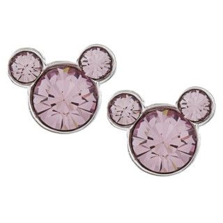 Disneys Mickey Mouse Sterling Silver Light Purple Crystal Earrings