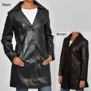 Tibor Designs Womens Plus Size Pick Stitched Leather Walking Coat