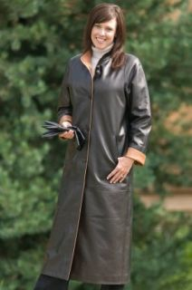 Womens Vickie Full Length Lambskin Leather Coat Clothing